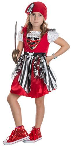 Brandsseller Mädchen Kostüm Piratin Kinderpirat Verkleidung Karneval Party Fasching M (7-10 Jahre)