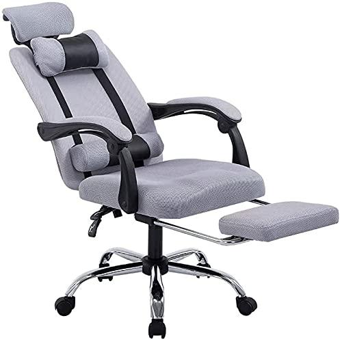 Peakfeng Alta Back Home Office Chair esecutivo ergonomica Computer Desk Chair 400 kg di capacità Elevata sedie girevoli Tessuto di Rivestimento con poggiatesta e poggiapiedi Grey