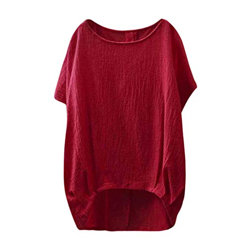 UOKNICE BLOUSE for Womens, Short Sleeve Summer Casual Lady Linen Solid Plain Asymmetrical Tops Pullovers Tees T-Shirts Stores s inc Plaid Jean Printed Man high Best Satin Sale Red