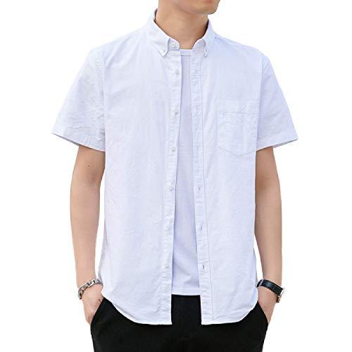 Camisa de Manga Corta para Hombre Cárdigan de algodón de Corte Entallado de Color Liso Camisa Casual de Calidad básica clásica para Primavera y Verano Large
