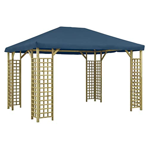 pedkit Garden Gazebo, Patio Sunshade Shelter Canopy, for Dinners, Gatherings, Weddings, BBQ Parties, Camping 4x3 m Blue