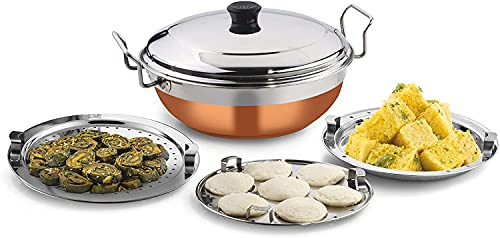 Idli Stand/Dli Stemers/Idli Cooker/Multi Kadai/acero inoxidable Idly Cooker Idly Pot Idly Stand Idly Steamer All-in-One con 5 platos (2 Idli, 2 Dhokla, 1 Patra)