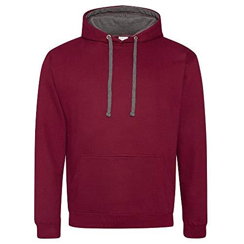 Unbekannt Just Hoods Varsity Hoodie mit farblich abgesetzten Kapuze Medium red - Bordeaux/gris