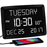 """11.5"""" Extra Large Digital Calendar Day Alarm Wall Clock for Living Room,3 Alarm Electric Clock with Temperature,5 Dimmer,2 USB Chargers for Elderly,Dementia,Memory Loss,Impaired Vision,Bedroom,Office"""
