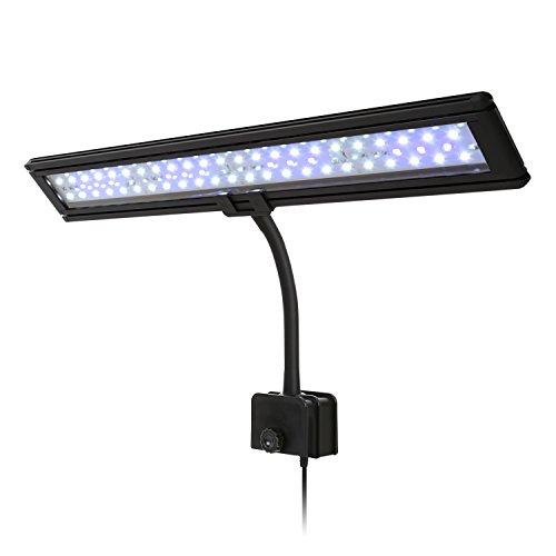 Amzdeal Lampe à Clip 60LED 5730SMD pour 50-80cm Aquarium, éclairage LED 48 Blanc + 12 Bleu avec 2 Modes pour poissons, AC110-240V Plug EU