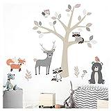 Little Deco Wandsticker Tiere des Waldes I Wandbild 244 x 156 cm (BxH) I Fuchs Hirsch Eule Wandtattoo Babyzimmer Aufkleber Baby Deko Spielzimmer Mädchen Junge DL519A