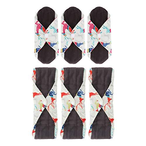MagiDeal 6 Piezas M + S Paño de Bambú Lavable Almohadilla Menstrual Toalla Sanitaria para Mujeres