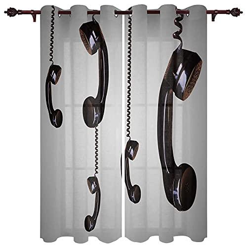 Cortinas Opacas Teléfono Fijo 2 Piezas De Cortinas Opacas Resistente Al Calor Y La Luz para Salón Dormitorio Cortina Gruesa Y Suave para Oficina Moderna 140 * 160cm