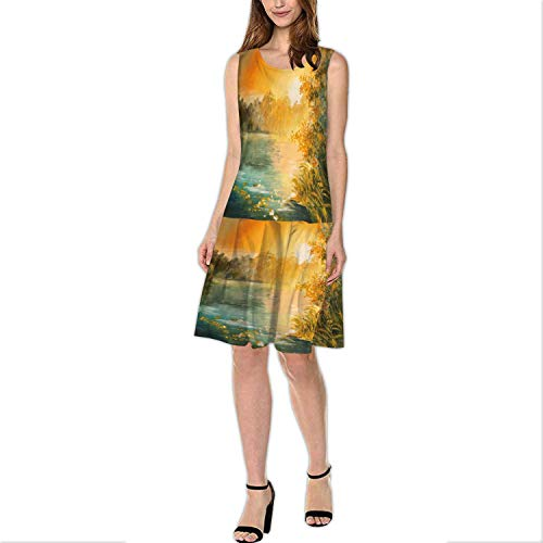 Oil Painting - Sunset on The Lake,Women's Weight Boat-Neck Dress Colorfull Art Drawing 2XL
