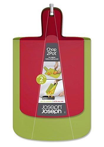 Joseph Joseph Chop2Pot, Küchenbrett, Schneidebrett, faltbar, Set - 2-teilig, Polypropylene, rot/grün