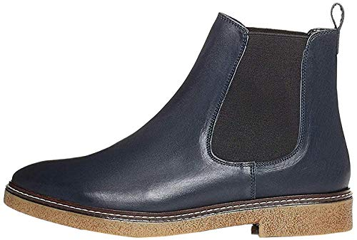 Amazon-Marke: find. Damen Chelsea Boots aus Glattleder, mit Kreppsohle, Blau Navy), 38 EU