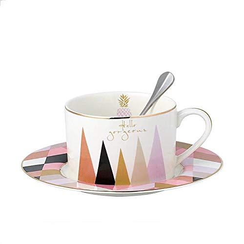 fsafa Kaffee-Set Kreative Muster Macaroon Mode Stil 250Ml Kaffeetasse Und Untertasse Set,Neuheit Personalisierte Schokolade Tee Milch Tassen,Beste GIF