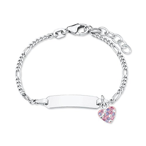 Prinzessin Lillifee Mädchen-Armband Identarmband 12+2cm 925 Sterling Silber Kristalle weiß rosa lila inkl. Wunschgravur