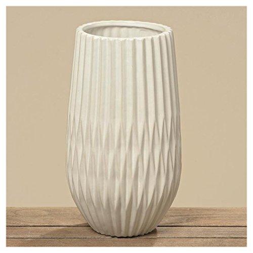Vase Origami en Grès Blanc - Haut. 31cm