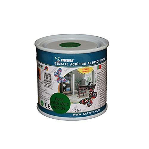 Paintusa - Bote de pintura esmalte S811 color verde abeto 125 ml ideal para interior y exterior