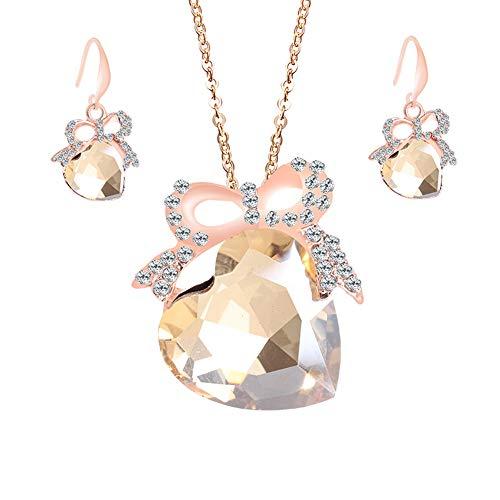 Pendientes Muzhili3 para mujer, 3 unidades, con forma de corazón, piedras de imitación, collar con colgante, pendientes de gancho, color rojo champán