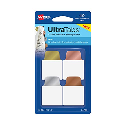 Avery Mini Ultra Tabs, 1 x 1.5, 2-Side Writable, Assorted Metallic Colors, 40 Repositionable Tabs (74785)