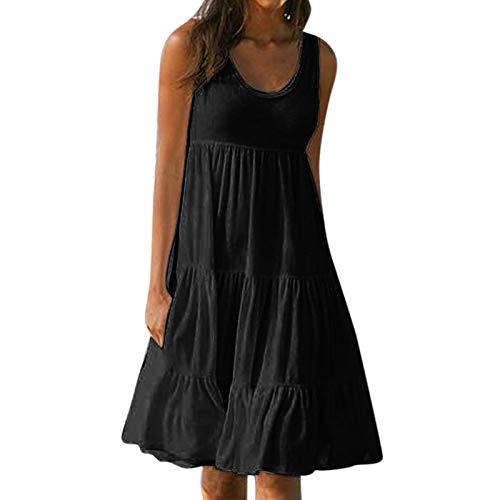 LoveLeiter Sommerkleid Damen Einfarbig Spleißen ärmellos Schwingen Kleid Rundhals Sommer Trägerkleid Kurz Kleider Sexy MiniKleid Midi Kleider Elegant Knielang Kleid Vestkleid Volant Kleid