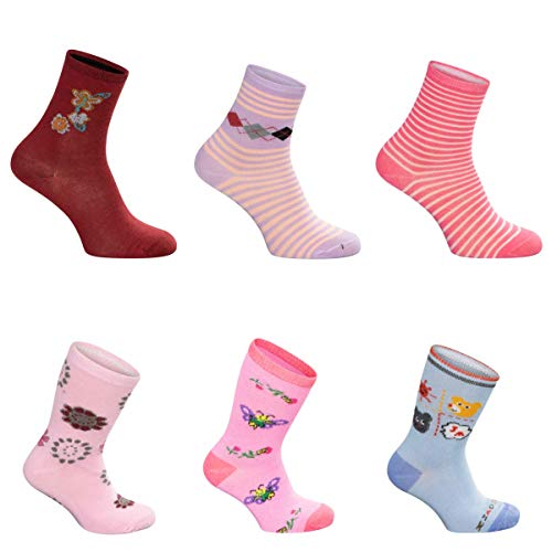 SG-WEAR 12 Paar Kindersocken für Mädchen mit hohem Baumwollanteil bunte Kinder Socken in verschiedenen Motiven / Girl Strümpfe in Größe 23-26, 27-30, 31-34, 35-38 / Ganzjahresartikel (Motiv 2, 31-34)