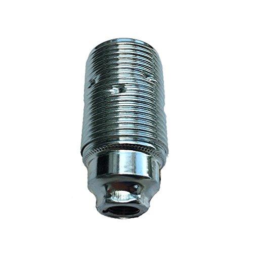 E14 Fassung Metall chromfarben M10x1 Gewinde - Lampenfassung - Metallfassung