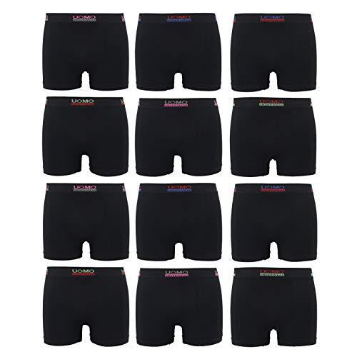 ReKoe 12er PackMicrofaser Uomo SchwarzUnterwäsche Pants Herren Boxershorts Fitness, Größe:M/L