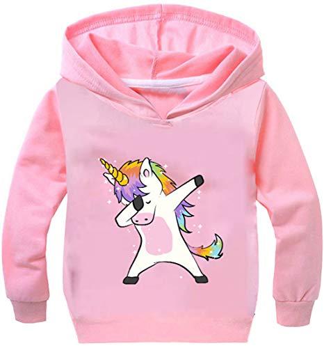 PANOZON Mädchen Pullover 3D Einhorn Digital Motiv Langärmelig Sweater mit Kapuzen Streetwear (Rosa135-21, 120)