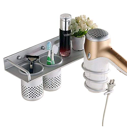 Lmeison Wall Mounted Hair Dryer, Bathroom Hair Care & Styling Tool Organizer Storage Basket, Aluminum Hanging Rack Organizer with 2 Cups for Flat Iron, Curling Wand, Hair Straighteners, Brushes