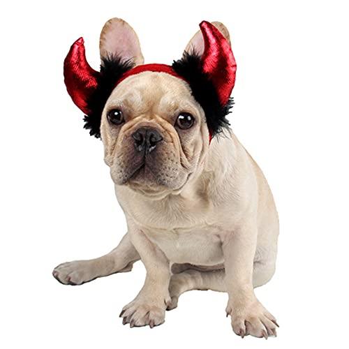 ZHDXW Disfraz de Halloween para mascota de cuerno de cosplay diadema de gatos, diadema de diablo, disfraz de Halloween, gorro vikingo