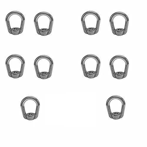 10 PC Stainless Steel SS 316 Eye Nut Tap Thread 1/4