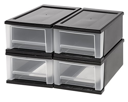 Iris 4-Piece 7-Quart Stacking Drawer, Small, Black