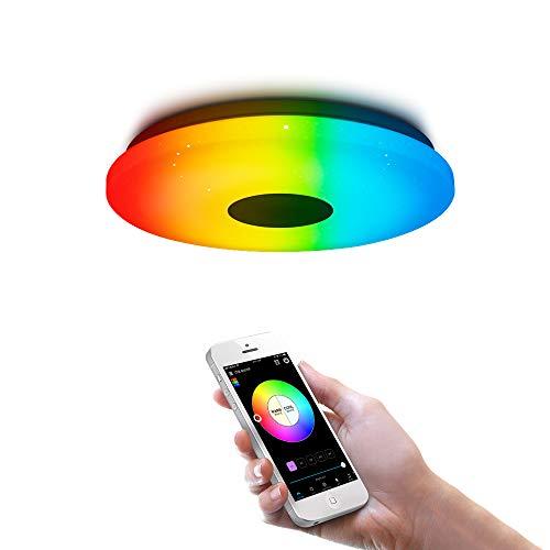 OFFDARKS Iluminación de techo de interior LED moderna, control de WiFi/aplicación Lámpara de techo compatible con Alexa y Google Assistant, RGB, atenuación φ28cm 36w