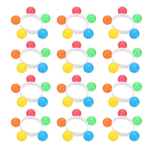 NUOBESTY 12 campanas de muñeca para niños colorido sonajero banda muñeca instrumentos musicales juguetes ritmo pulseras mano campana jardín de infancia fiesta favores color al azar
