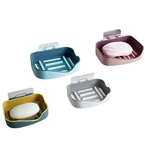gazoncin 4 stycken tvålskålar väggmonterad dusch för limning tvålkopp utan borrning tvålhållare sugkopp burk resa tvål låda hållbara gåvor tvålask hylla bad disk plast tvåltallrik