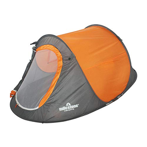Milestone Camping 18819 2 Man Pop Up Tent with Carry Storage Bag, Orange and Grey, H100 x W150 x D245cm