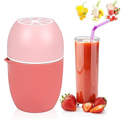 Portable Manual Juicer Cup, Mini Manual Juicers, Easy Manual Juicer Cup, Fruit Press Cup, Dual Purpose Two-Way Press Quick Squeeze Mini Juice Cup for Lemon, Lime, Apple, Orange, Grapfruit(Pink)