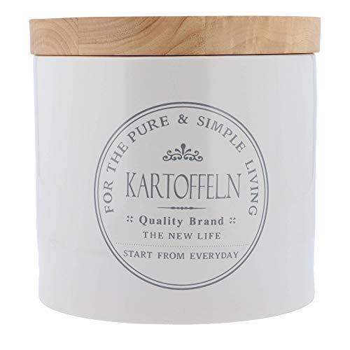 KHG Kartoffelbox Vorratsdose Kartoffellager aus weißer Keramik Holz-Deckel