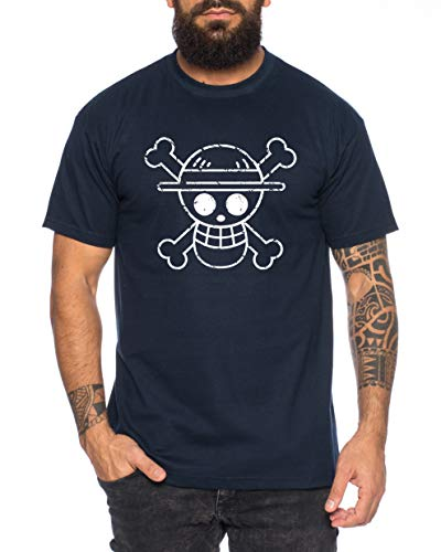 Logobruch Zoro One Manga Camiseta Luffy de Hombre Anime Piece, Farbe2:Azul Oscuro, Größe2:X-Large
