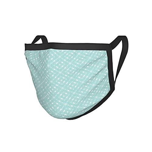 Moderno Abstracto Minimalista Circular Patrón Con Formas Elípticas Puntos Y Flores Motivos Cielo Azul Blanco Negro Borde Mask.Cloth Mask