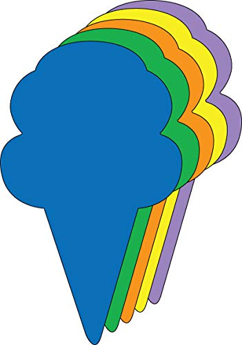 """5.5"""" Ice Cream Cone Assorted Color Creative Cut-Outs, 31 Cut-Outs in a Pack for Spring, Summer, Learning Games, Ice Cream Socials, Classroom Kids' School Craft Projects"""