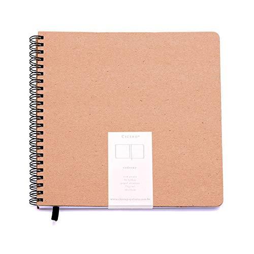 Caderno Grande sem Pauta, Cicero, Wire O Kraft, 2568, Bege, 20x20