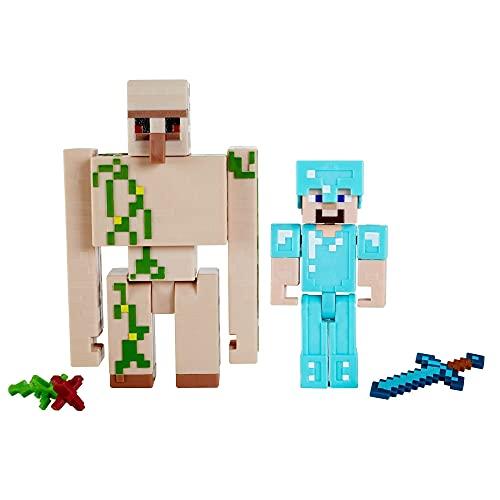 Minecraft Steve y Gólem de Hierro Figuras articuladas de juguete con accesorios, regalo para niños...