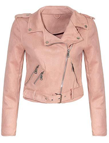 Malito Damen Jacke | Velours Jacke | Biker Jacke mit Gürtel | Kunstleder Jacke | Faux Leather 5199 (rosa, M)