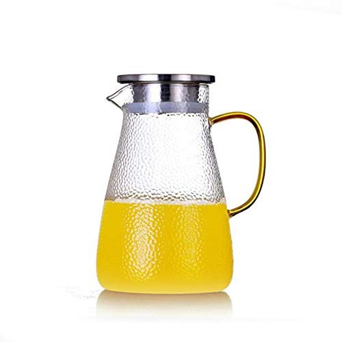 QAX Jarra de cristal con tapa de acero inoxidable, jarra de agua para agua caliente y fría, zumo de hielo, bebidas caseras, tapa de acero inoxidable, 1500 ml