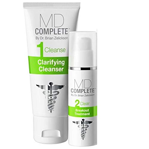 MD Complete Acne Clearing Duo Step 1 Salicylic Acid 2.0% Cleanser + Step 2 Benzoyl Peroxide 4.5% Breakout Treatment 60 Day Supply