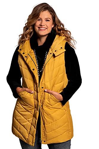 Ulla Popken Lange Weste mit gerundeten Taschen Chaleco Largo con Bolsillos Redondeados, Verde (Mostaza Amarillo 75051763), 58 para Mujer