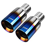 Upower Pack of 2 Blue Burnt Exhaust Tip 2.5 Inch Inlet 4' Outlet 9' Long Double Wall Straight Cut 304 SS