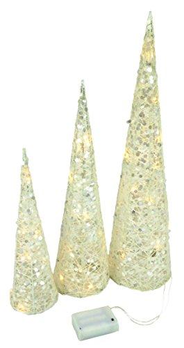 Christmas Concepts® Set di 3 alberi con cono bianco glitterato con luci a LED bianco caldo Decorazioni natalizie - Alberi di Natale