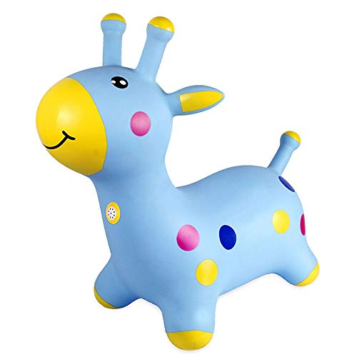 HYY Vaulting horse toy, plastic rocking horse, children's rocking horse toy, suitable for babies 1-3 years old, children's inflatable pony, blue/pink (Color : Blue)