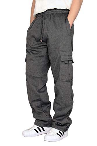 URBANJ Men's Fleece Cargo Sweatpants Heavyweight Size S-5XL (2XL, Charcoal)