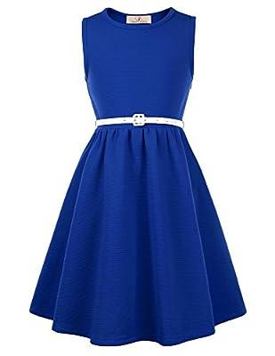 Vintage Plain Dresses for Girls with Belt 10yrs CL0482-6